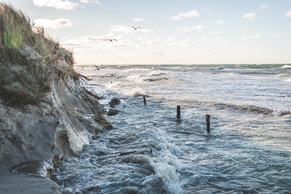 Ostseewellen schlagen an die Düne beim Darßer Ort bei Prerow auf dem Darß. Foto: Kerstin Bittner