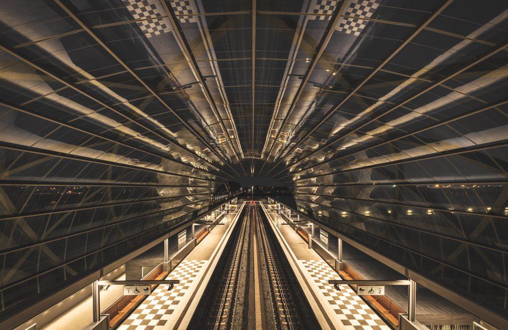 U-Bahn-Station Elbbrücken in Hamburg, Nachtaufnahme, Foto: Kerstin Bittner