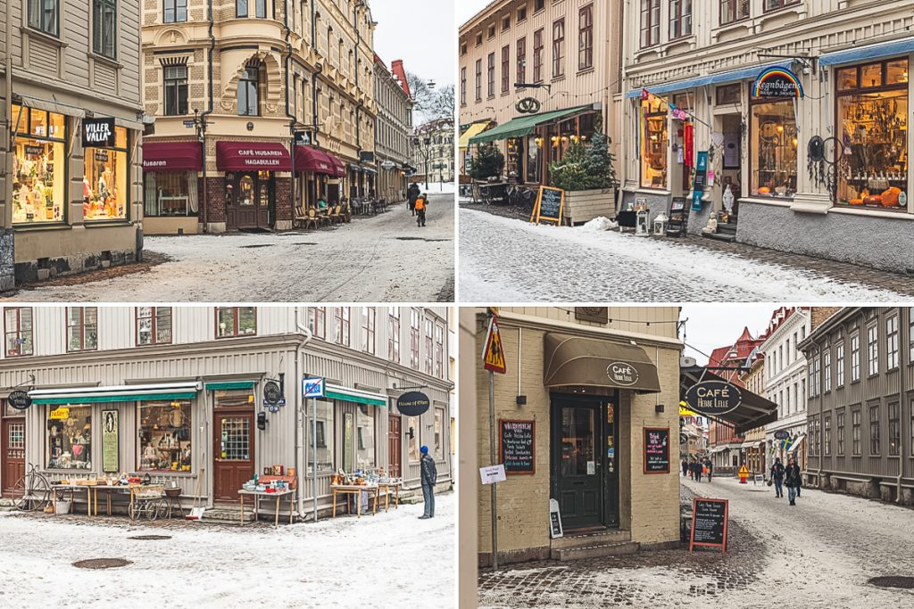Geschäfte und Cafes in Haga in Göteborg, Schweden. Foto: Kerstin Bittner