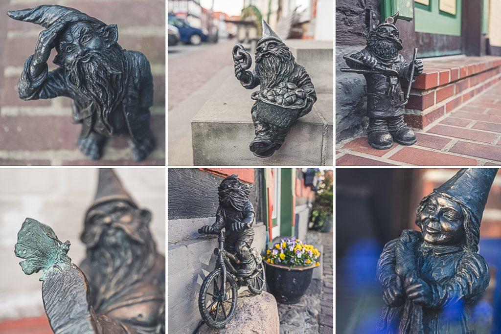Bronzestatuen der Weinbergzwerge in Hitzacker (Elbe). Foto: Kerstin Bittner