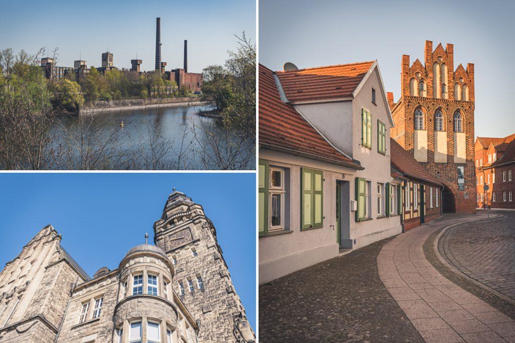 Sehenswürdigkeiten in Wittenberge. Ehemalige Nähmaschinenfabrik, Rathaus, Steintor. Foto: Kerstin Bittner