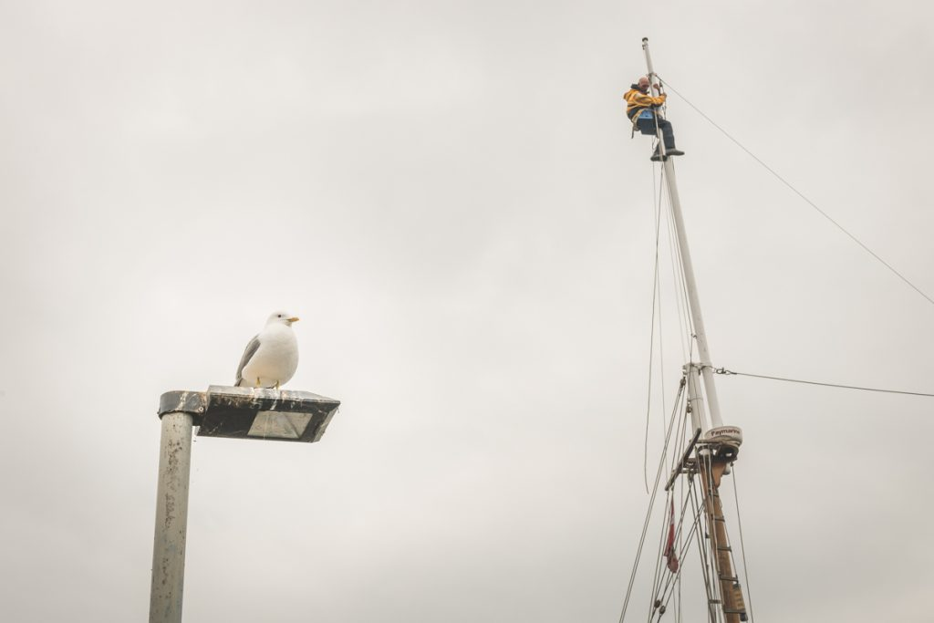 Gaffelschoner Samyrah. Arbeiten am Mast. Foto: Kerstin Bittner
