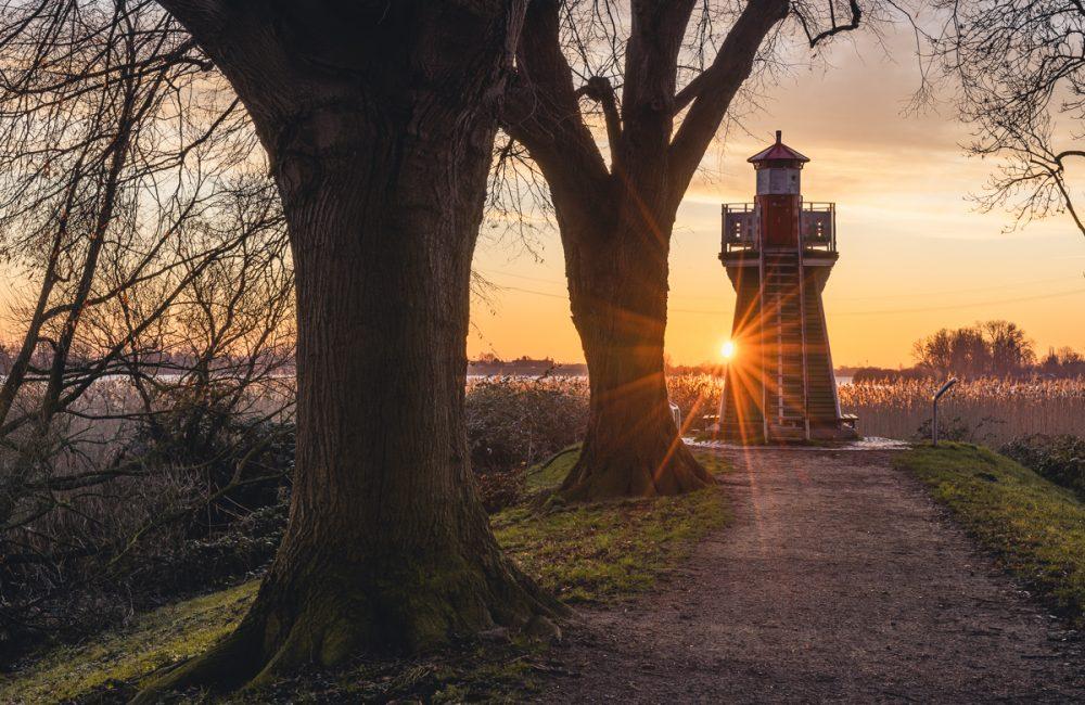 Sonnenaufgang an der Bunthäuser Spitze in Hamburg-Wilhelmsburg. Foto: Kerstin Bittner