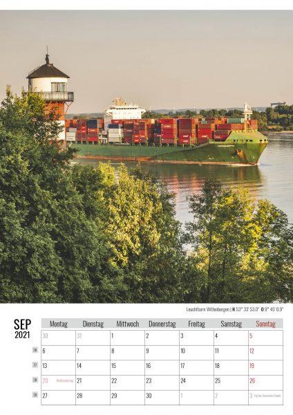 September. Leuchtturm Wittenbergen. Kalender Hamburg 2021. Auch das ist Hamburg. Foto: Kerstin Bittner