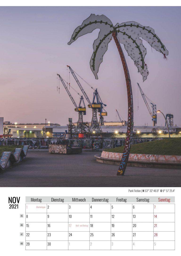 November. Park Fiction. Kalender Hamburg 2021. Auch das ist Hamburg. Foto: Kerstin Bittner