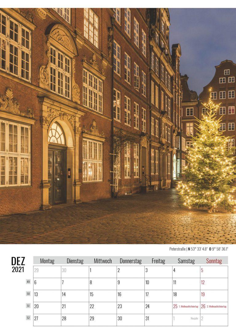 Dezember. Peterstraße. Kalender Hamburg 2021. Auch das ist Hamburg. Foto: Kerstin Bittner