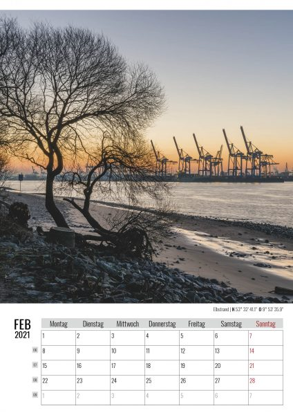 Februar. Elbstrand. Kalender Hamburg 2021. Auch das ist Hamburg. Foto: Kerstin Bittner