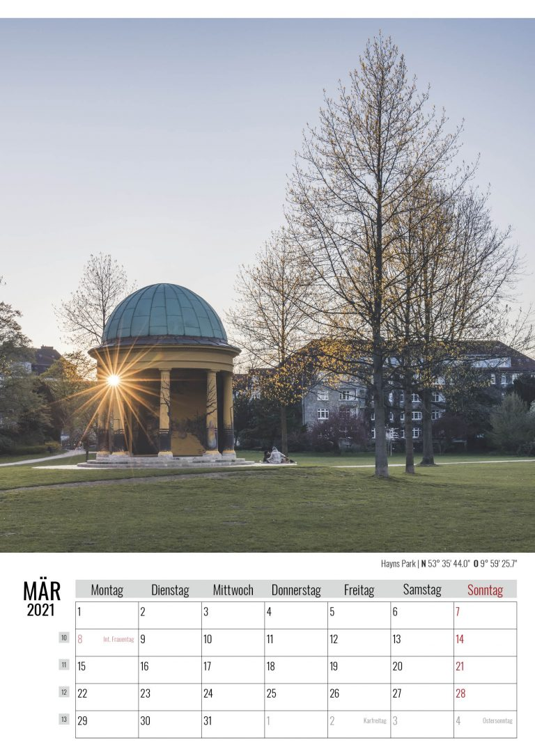 März. Hayns Park. Kalender Hamburg 2021. Auch das ist Hamburg. Foto: Kerstin Bittner