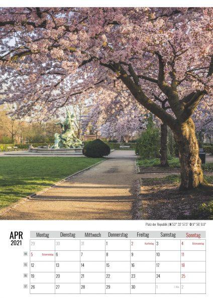 April. Platz der Republik. Kalender Hamburg 2021. Auch das ist Hamburg. Foto: Kerstin Bittner