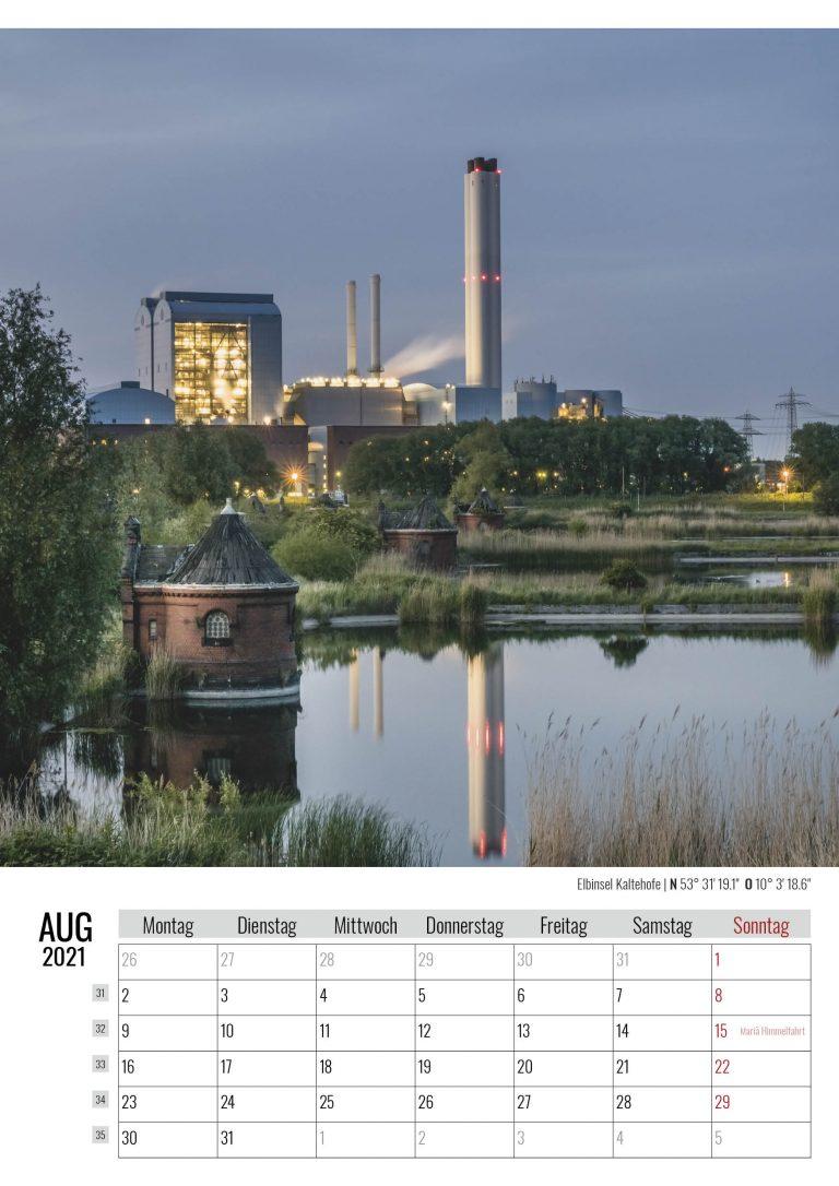 August. Elbinsel Kaltehofe. Kalender Hamburg 2021. Auch das ist Hamburg. Foto: Kerstin Bittner